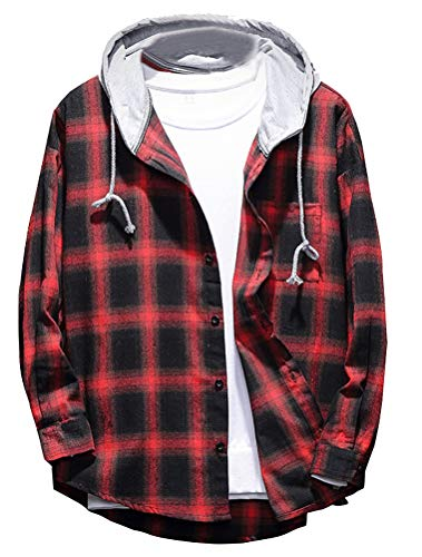 Lavnis Men's Plaid Hooded Shirts Casual Long Sleeve Lightweight Shirt Jackets Red L