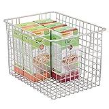 mDesign Wire Organizing Storage Basket with Built-In Handles - 12'' x 9'' x 8'', Satin