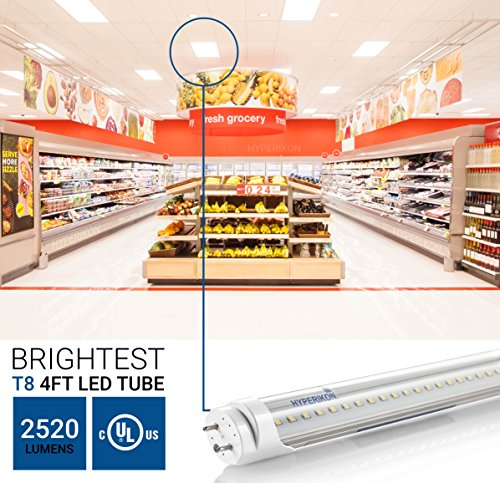 Hyperikon T8 T10 T12, 4ft LED Light Tube, Dual-End Powered, Works with and without ballast, 18W (48W equivalent), 2320 Lumens, 4000K (Daylight Glow), Clear Cover, DLC & UL (Pack of 12) by Hyperikon (Image #3)