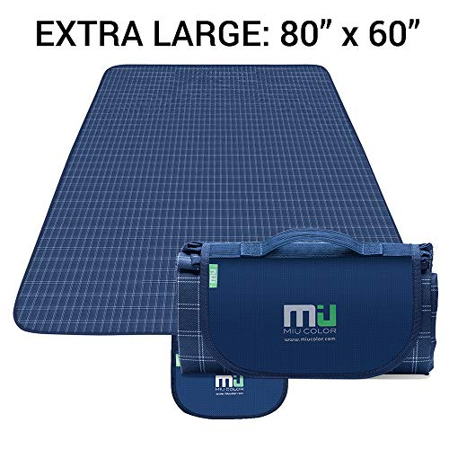 MIU COLOR Large Waterproof Outdoor Picnic Blanket, Sandproof and Waterproof Picnic Blanket Tote for Camping Hiking Grass Travelling (80'' x 60'' Navy Plaid)