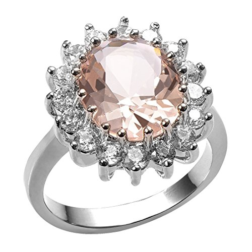 Weinuo Morganite 925 sterling silver Gemstone Fashion Ring Size L1/2