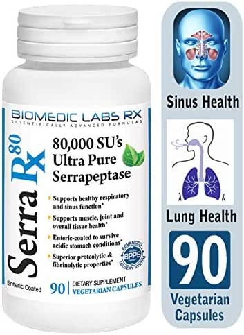 Serra-RX 80,000 SU Serrapeptase - Limited TIME Offer - Enteric Coated Proteolytic Systemic Enzyme, Non-GMO, Gluten Free, Vegan, Supports Sinus & Lung Health, 90 Veg Capsules