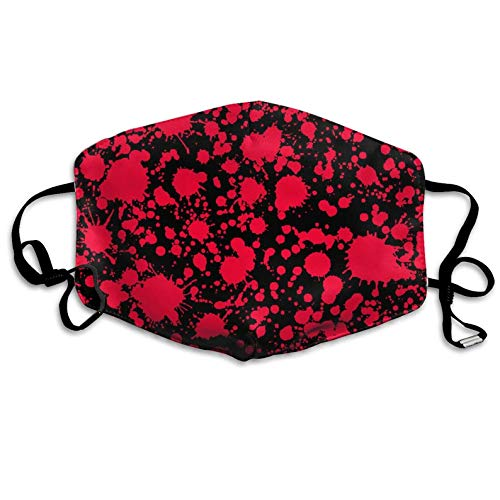 Classic Horror Blood Splatter Black Red Anti Dust Half Face Mouth Mask for Teens Men Women Lovers Dustproof with Adjustable Ear Loops