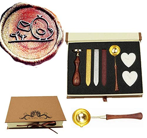 MNYR Bird with Envelope Grass Wax Seal Stamp Kit Wooden Handle Melting Spoon Candle Gift Box Set- Ideal for Decorating Gift Packing, Envelopes, Parcels, Cards, Letetrs, Wedding Invitations Seal Stamp