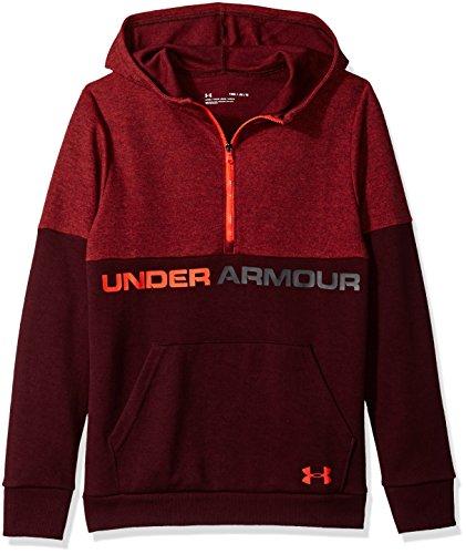 Maroon Hoodie Youth (Under Armour Boys Double Knit 1/2 Zip Hoodie, Dark Maroon (600)/Radio Red, Youth Medium)