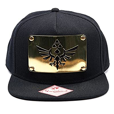 Official Legend of Zelda Black Snapback Hat with Gold Metal Plate Baseball Cap from Nintendo
