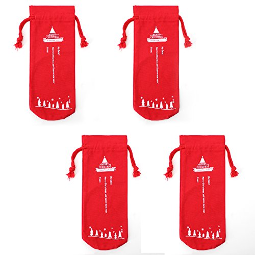 Claus Red Wine Bottle Cover Bags Drawstring Chiristmas Candy Bags Reindeer and Christmas Dinner Table Decorations (Christmas Wine bags-4pack) ()