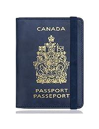 WALNEW RFID Blocking Passport Holder Wallet Cover Case (B-Navy Blue)