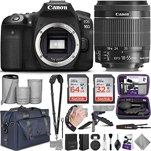 Canon EOS 90D DSLR Camera and 18-55mm Lens with Altura Photo Complete Accessory and Travel Bundle from Canon