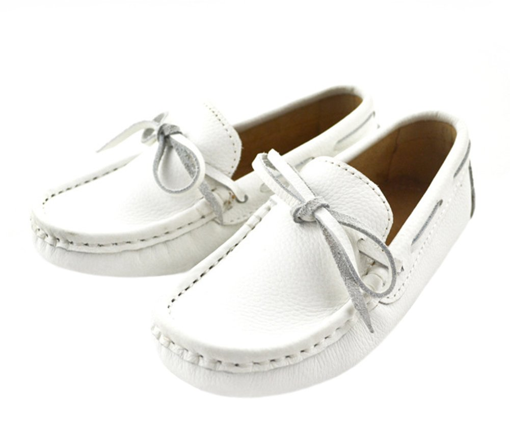 Aisun Boy's Girl's Genuine Leather Slip-on Loafer Shoes White 1.5 M US Little Kid
