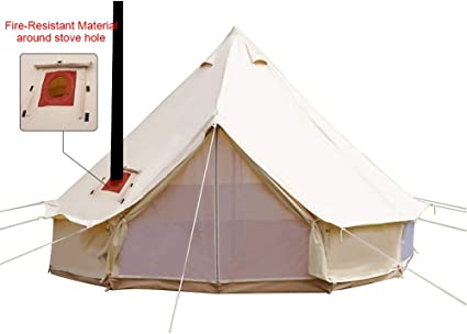 PlayDo 4-Season Waterproof Cotton Canvas Bell Tent With Stove Hole