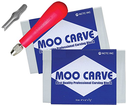 Moo Carving Printing Studio Pack of Easy to Cut Soft Blocks with Speedball Linoleum Cutting Tool & Blade Artist Printmaking Art and Tool Set 2 Pack (4''x 6'' x 1/2'') by MooMoo