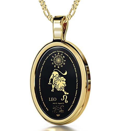 14k Yellow Gold Zodiac Pendant Leo Necklace Inscribed in 24k Gold on on Onyx Stone, 18