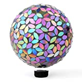 Lily's Home Holographic Mosaic Flower Petal Glass Gazing Ball, Purple and Silver Mirror, 10-Inch