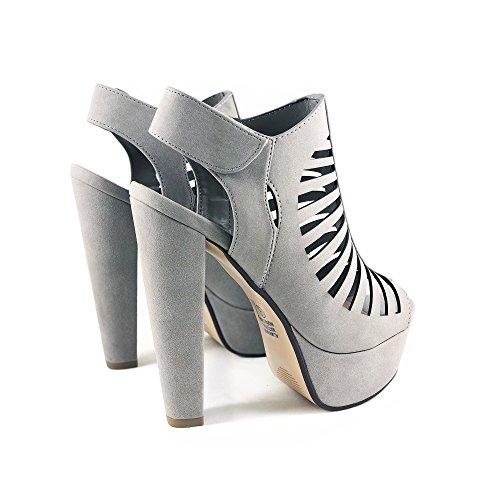 Thick Shoes Nb Soda Heel Platform Open Toe Manji Comfortable Women's MVE Grey tqCEEBw