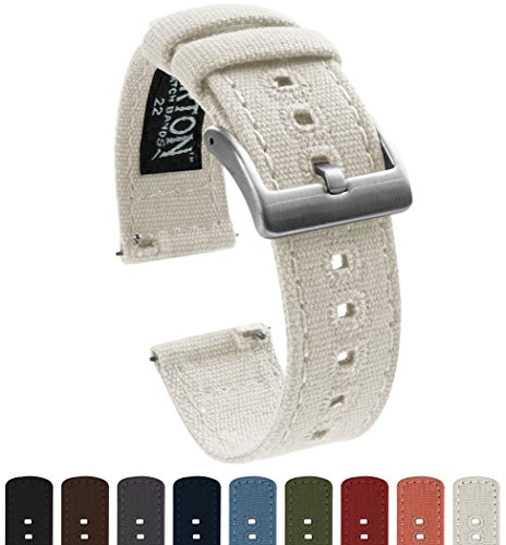 BARTON Canvas Quick Release Watch Band Straps - Choose Color & Width - 18mm, 20mm, 22mm - White 22mm