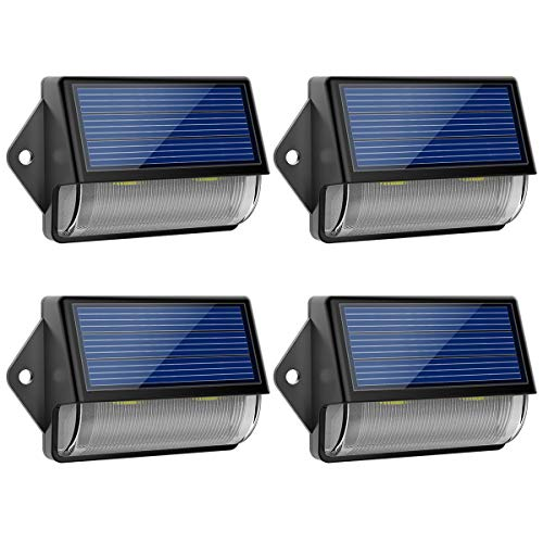 LOHAS Solar Light Outdoor, Waterproof IP65 LED Mini Dusk to Dawn Light, Cool White 6000k Security Light Sensor Light, 2V Solar Powered LED Wireless Light, 180 Degree for Garden Front Door Yard, 4 Pack