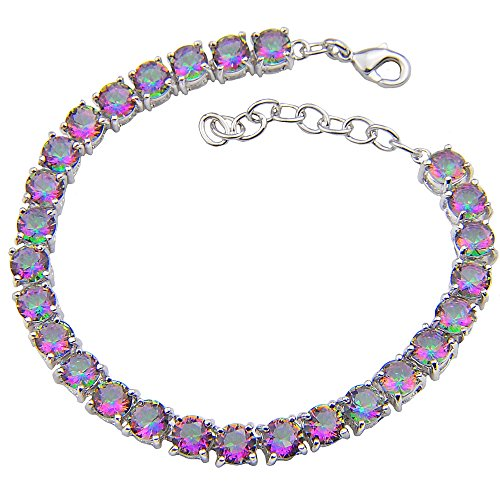 - Luckyshine Silver and Round Fire Mystic Topaz Gems Adjustable Chain Bracelets Gifts for Women Jewelry