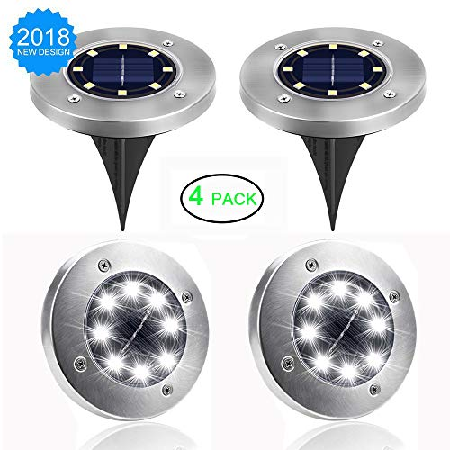 Jiff's Life Solar Ground Lights Outdoor, Stainless Steel Garden Pathway Lights Outdoor Waterproof With 8 LED for Driveway, Deck, Garden, Landscape Lighting (Bright white-4 (Stainless Steel Outdoor Torch)