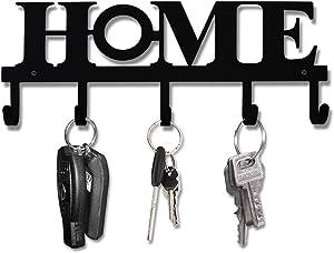 Key Holder Black Metal Wall Mount Vintage Keys Hook 33X13.5cm Home Decor Rustic Western Key Hanger Decorative with 5 Hooks for Front Door Kitchen and Home