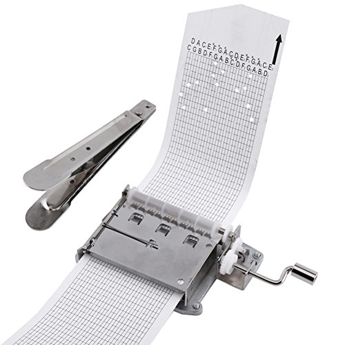 30 Note DIY Hand Crank Music Box Movement + 10 Pcs Refill Blank Paper Strips Puncher Customize for Your Own Songs