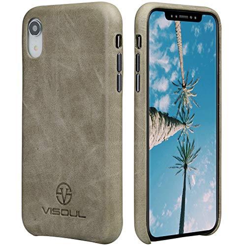 人工腰楽しいiphoneXR カバー 本革 VISOUL iphoneXRケース アイフォンXR ケース レザー 牛皮 スマホケース 携帯ケース 頑丈 耐衝撃 全面保護 iphoneXRcase 6.1インチ アイホンXRケース 薄型 (灰色)