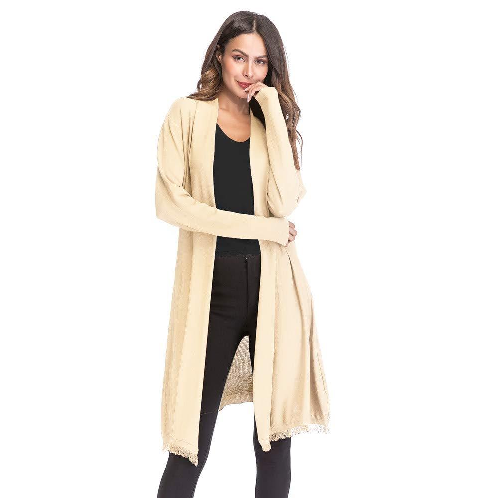 Molyveva Women Retro Openwork Knit Tassel Drape Cardigan Coat New Solid Sweater