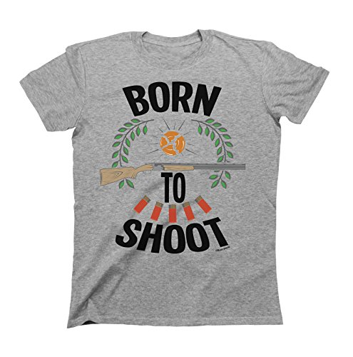 Born to Shoot T-Shirt Mens Ladies Unisex Fit Clay Pigeon Grey