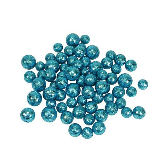 (60ct Turquoise Blue Sequin and Glitter Christmas Ball Decorations 0.8