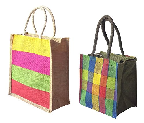 31fd132b49a Style and Culture Jute Bag combo pack of 2 for Multi purpose use- Lunch bag,  shopping bag, Gift bag (Color-Multi): Amazon.in: Shoes & Handbags