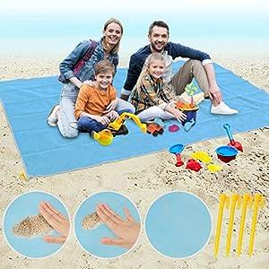 Idefair Coperta da Spiaggia, Telo Antisabbia Mare con 4 Picchetti Grandi Telo Mare per Beach Picnic Camping Coperta da… 14 spesavip