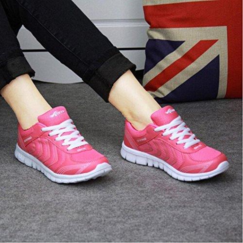 Tefamore Zapatillas de deporte Zapatos deportivos de los planos atléticas ocasionales de la malla respirable del verano de las mujeres Rosas fuertes