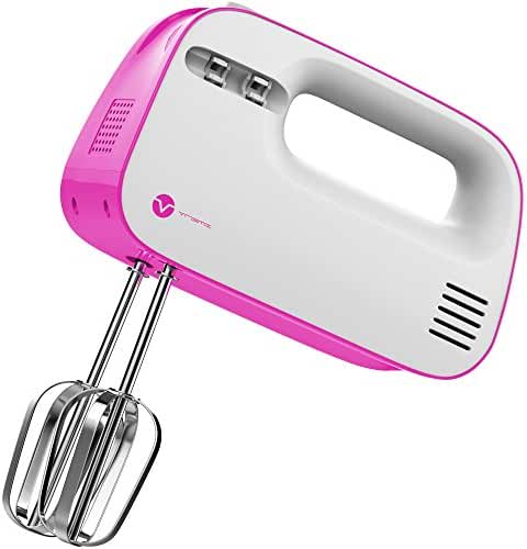 Vremi Electric Hand Mixer 3 Speed with Built-in Storage Case - 150 Watt Power Egg Beater Handheld Kitchen Mixer Stainless Steel Beaters Blades - Electronic Compact Mini Small Lightweight - Pink White