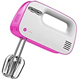 Cheap Vremi Electric Hand Mixer 3 Speed with Built-in Storage Case – 150 Watt Power Egg Beater Handheld Kitchen Mixer Stainless Steel Beaters Blades – Electronic Compact Mini Small Lightweight – Pink White