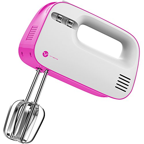 Vremi Electric Hand Mixer 3 Speed with Built-in Storage Case - 150 Watt Power Egg Beater Handheld Kitchen Mixer Stainless Steel Beaters Blades - Heavy Duty Mini Small Mixing Machine - Pink White