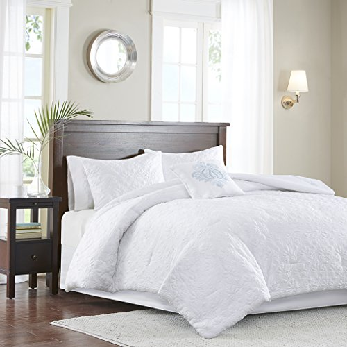 Madison Park Quebec King Size Bed Comforter Set - White, Dam