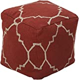 Surya Cube Hand Made Wool Pouf, 18 by 18 inches, Rust, Ivory For Sale