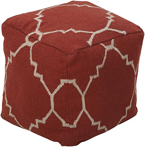 Surya Cube Hand Made Wool Pouf, 18 by 18 inches, Rust, Ivory