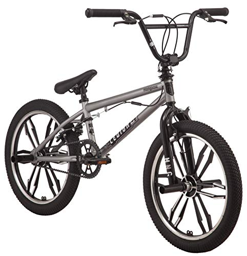 Mongoose Legion Mag Freestyle BMX Bike Featuring Hi-Ten Steel Frame and 40x16T BMX Gearing with 20-Inch Mag Wheels, Silver (Mongoose Mountain Bike Boys)