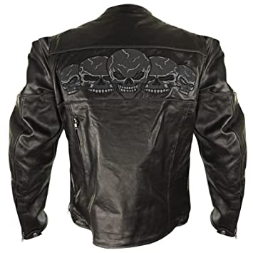 Xelement BXU6050 Mens Black Armored Leather Motorcycle Jacket with Skull Embroi X-Large