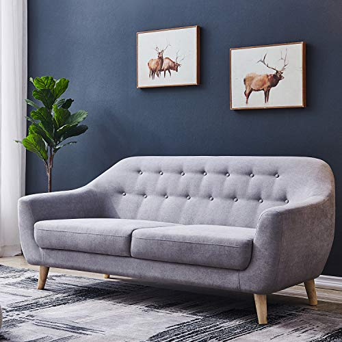 67 inch Wide Sofa Grey,JULYFOX Living Room Couch 3 Seater Mid Century Modern Button Tufted Loveseat Sofa Soft and Durable Microfiber Fabric Thick Padded Seat Cushions for Small Spaces