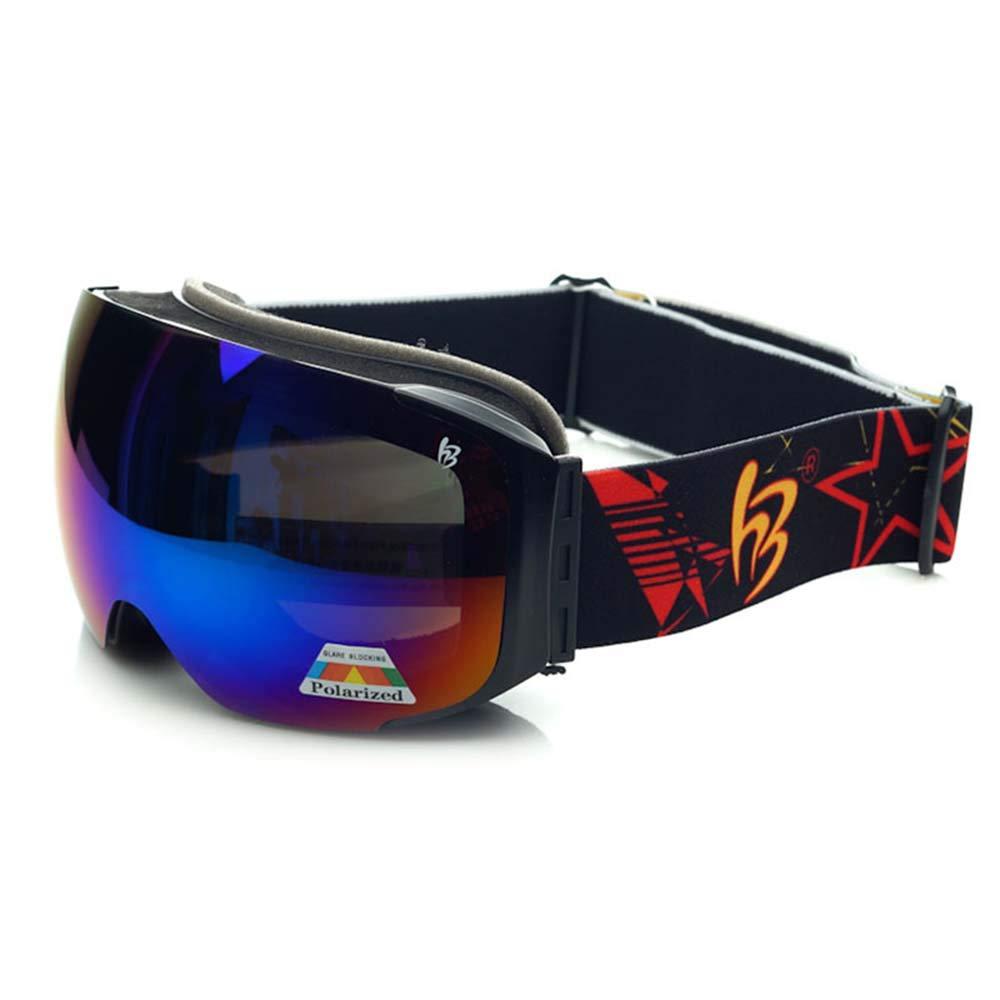 YangXu スキーゴーグル - TPU 交換可能レンズ 調節可能なストレッチヘッドバンド 昼夜兼用 近視用 ユニバーサルアウトドアスキー 登山用インパクトゴーグル 男女兼用 ブラック XY-689 ブラック