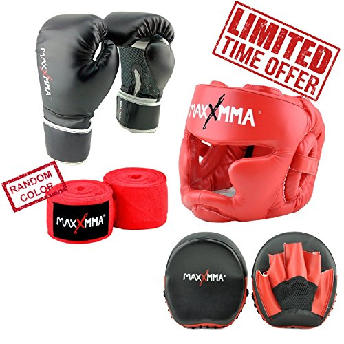 "MaxxMMA Pro Style Boxing Gloves 12,14,16 oz + Red Headgear + Micro Mitts +180"" Nylon/Poly Hand Wrap in random color (14 oz)"