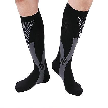 Sannysis 1 pare de calcetines ciclismo altos, calcetines hombre deporte (negro, S/
