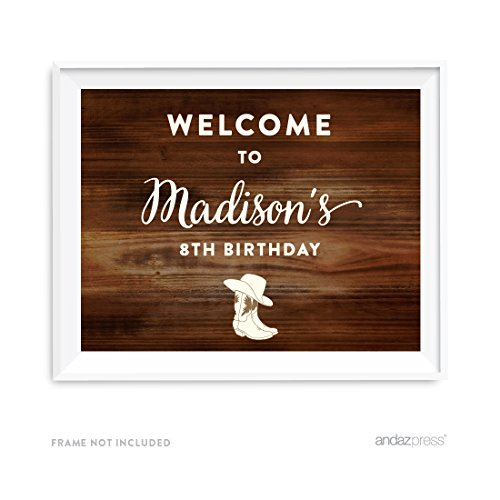 (Andaz Press Personalized Birthday Party Sign, 8.5x11-inch Unframed, Welcome to Michael's 8th Birthday, Cowboy Boots, 1-Pack, Custom, For Dessert Table Decor)