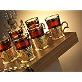 Demmex CopperBull 2018 Unique Decorated Tea Coffee Glass Cup with Holders & Spoons, 200ml (Gold - Set of 6)