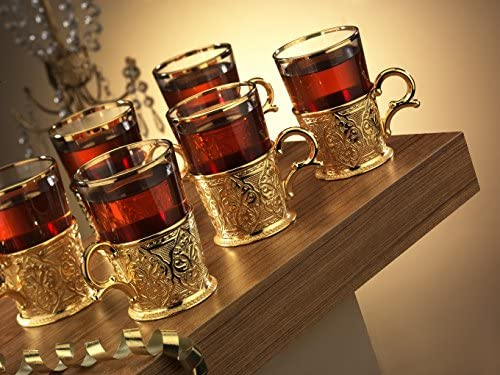 XL 6.6 Ounce CopperBull SYNCHKG125117 6 X Turkish Style Tea Glasses Set with Holders Spoons