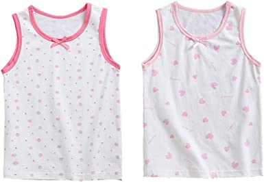 YuanDian Pack de 2 Niña Camiseta Interior Sin Mangas Nudo con ...