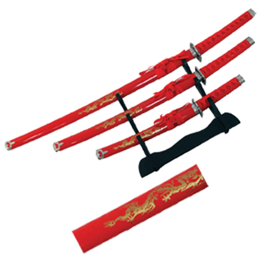 Isaazon 3 Pc Japanese Samurai Katana Sword Set Ninja Dragon Design w/Stand
