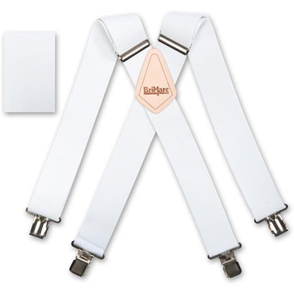 fc6c9685 Brimarc Mens Heavy Duty White Braces Trouser Belt Suspender 2:  Amazon.co.uk: Clothing